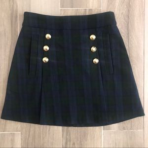 XOXO Size XS Blue Green Plaid Skirt